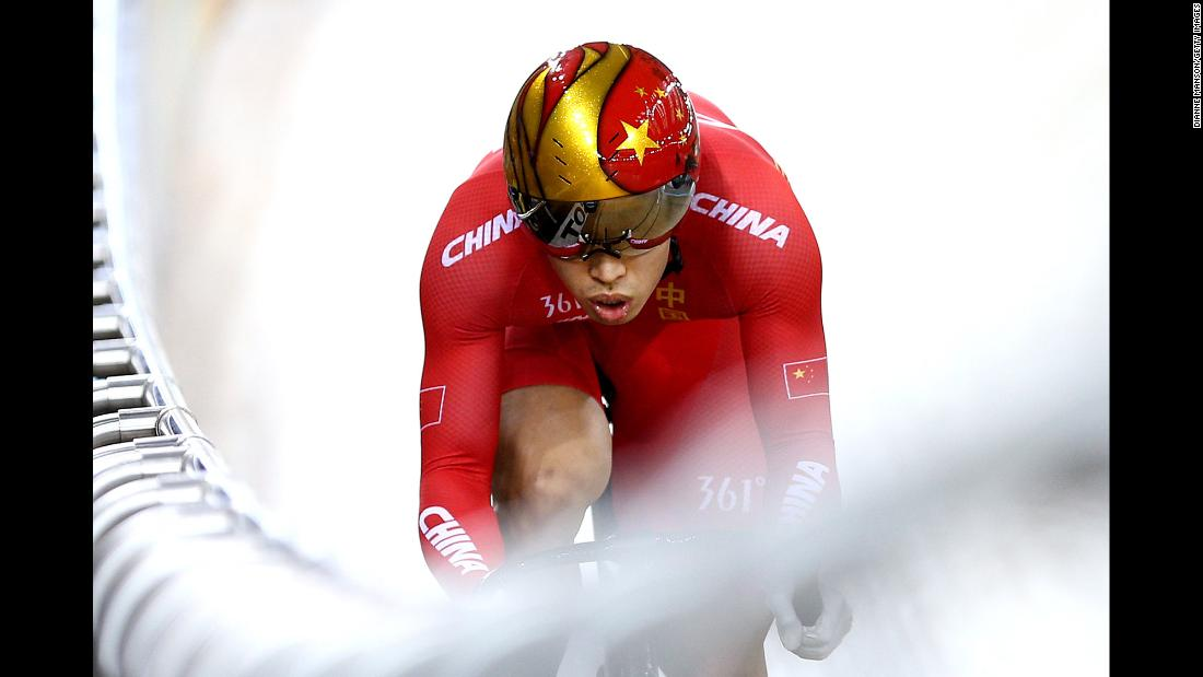 Chao Xu of China competes in sprint qualifying during the 2018 UCI Track World Cup on Sunday, January 20, in Cambridge, New Zealand.