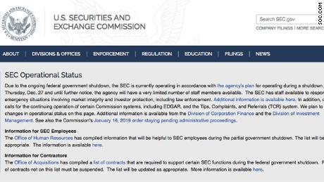 The SEC website is showing this message to let investors know it has a limited staff due to the government shutdown.