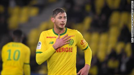 Emiliano Sala celebrates after scoring for Nantes.