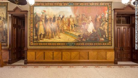 University of Notre Dame to cover Christopher Columbus murals