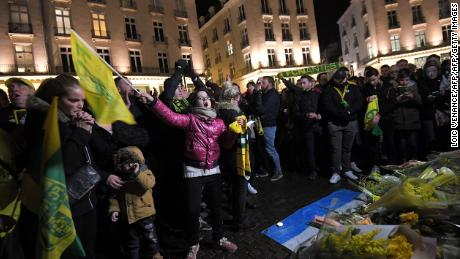 Nantes supporters gather in Nantes after it was announced that  Emiliano Sala was missing.