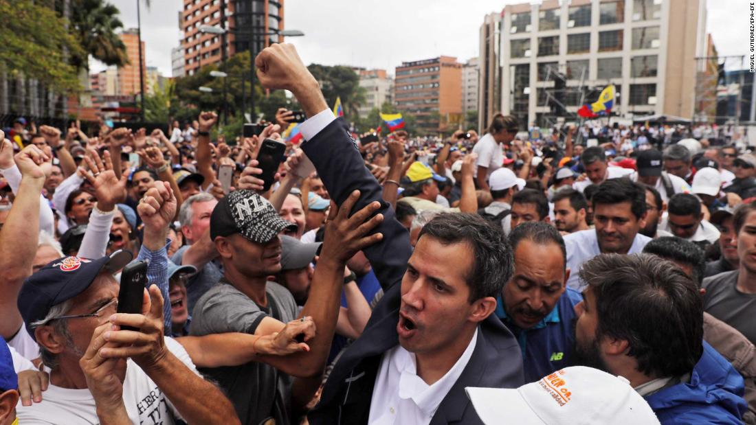 Guaido greets a crowd in Caracas on January 23.