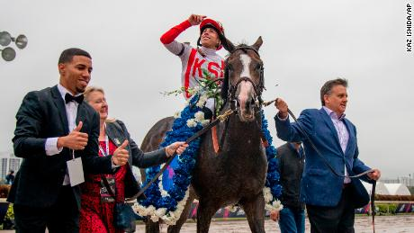 Bricks and Mortar, ridden by jockey Irad Ortiz Jr., won the Pegasus World Cup Turf Invitational Stakes.