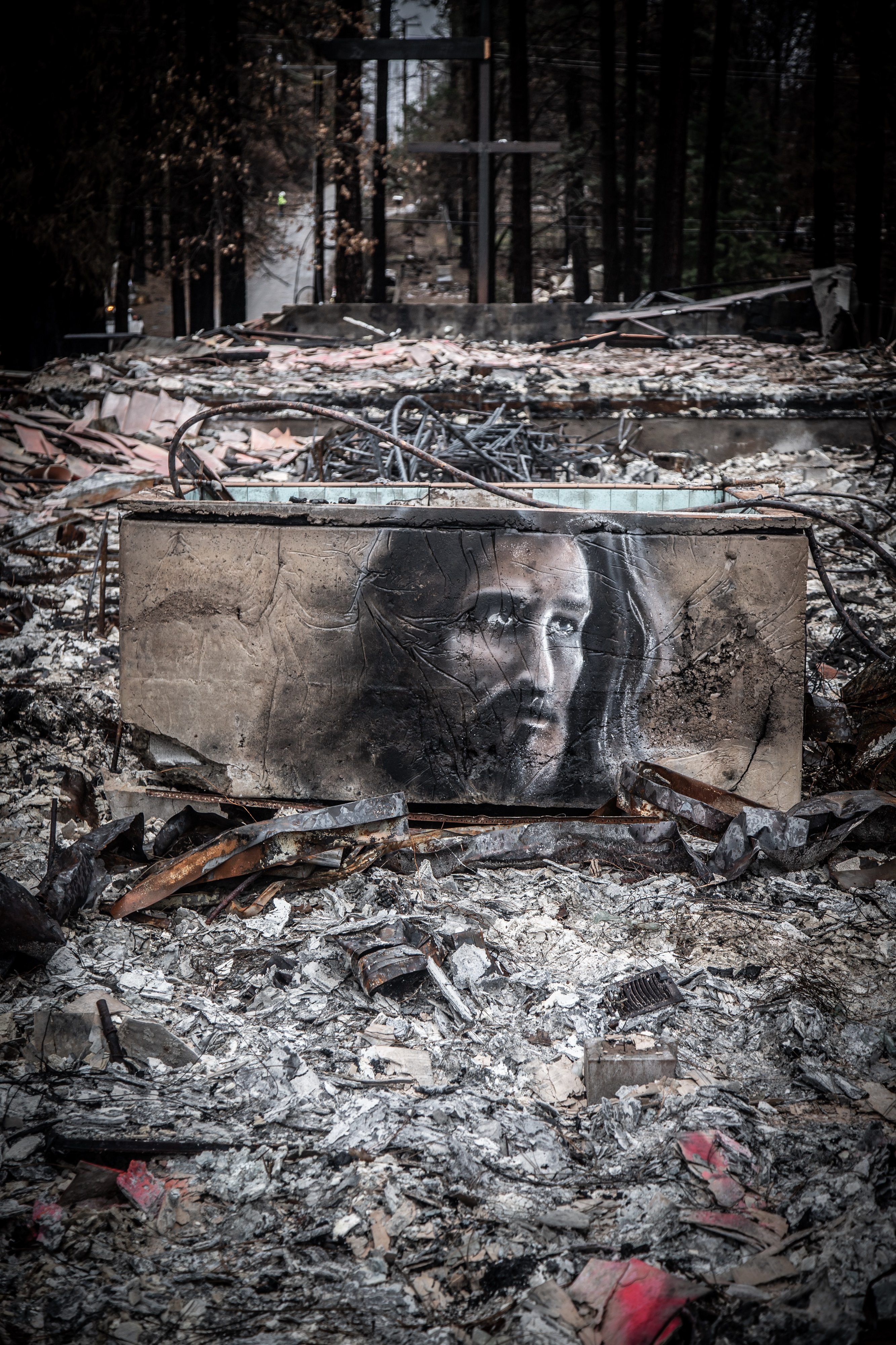 Artist Shane Grammer has created art among the ashes in Paradise