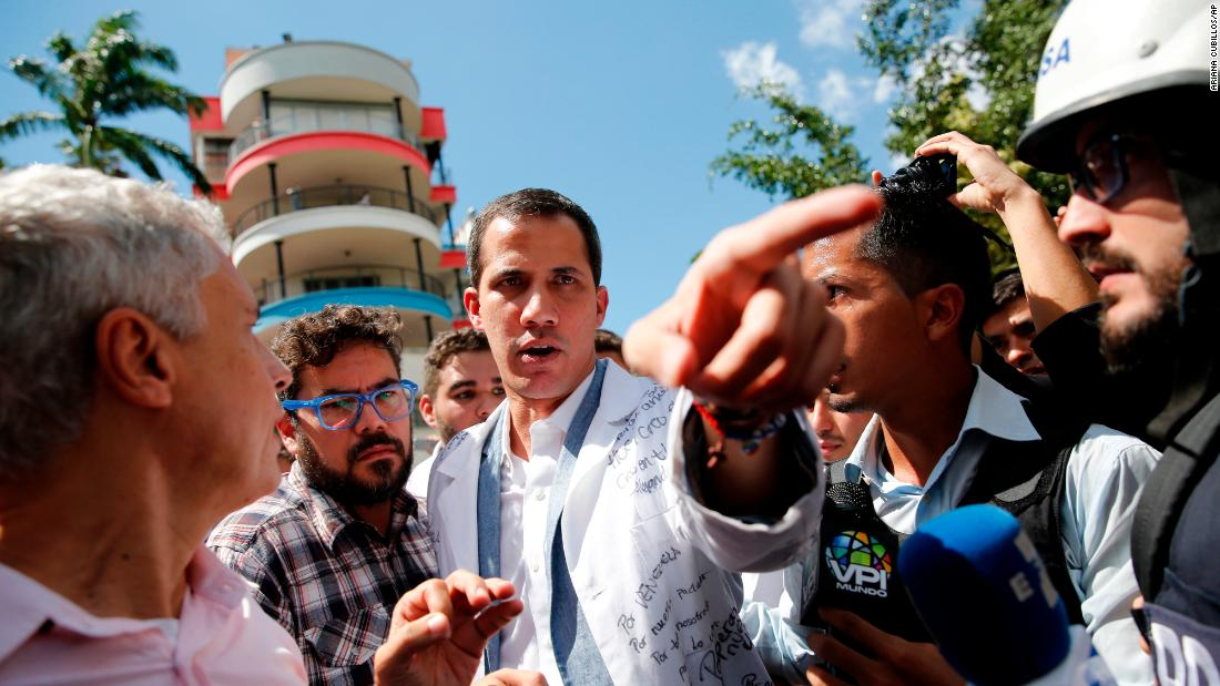 Guaido speaks to reporters in Caracas on January 30. The United States and more than a dozen other countries have recognized Guaido as Venezuela's legitimate ruler.
