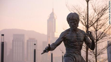 The Bruce Lee statue in Hong Kong.