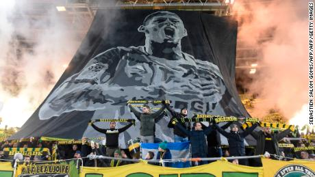 Nantes supporters pay a tribute Emilianio Sala during match against AS Saint Etienne.