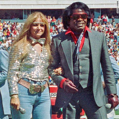 Jacque Hollander and James Brown performed at halftime of an Atlanta Falcons game in 1987.