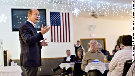 Representative John Delaney, a Democrat from Maryland and 2020 presidential candidate, speaks during a Clinton County Democrats dinner in Welton, Iowa, U.S., on Friday, Feb. 2, 2018. Delaney, the first Democrat to officially declare his candidacy for U.S. president, will begin advertising in Iowa during the Super Bowl on Sunday. Photographer: Daniel Acker/Bloomberg via Getty Images