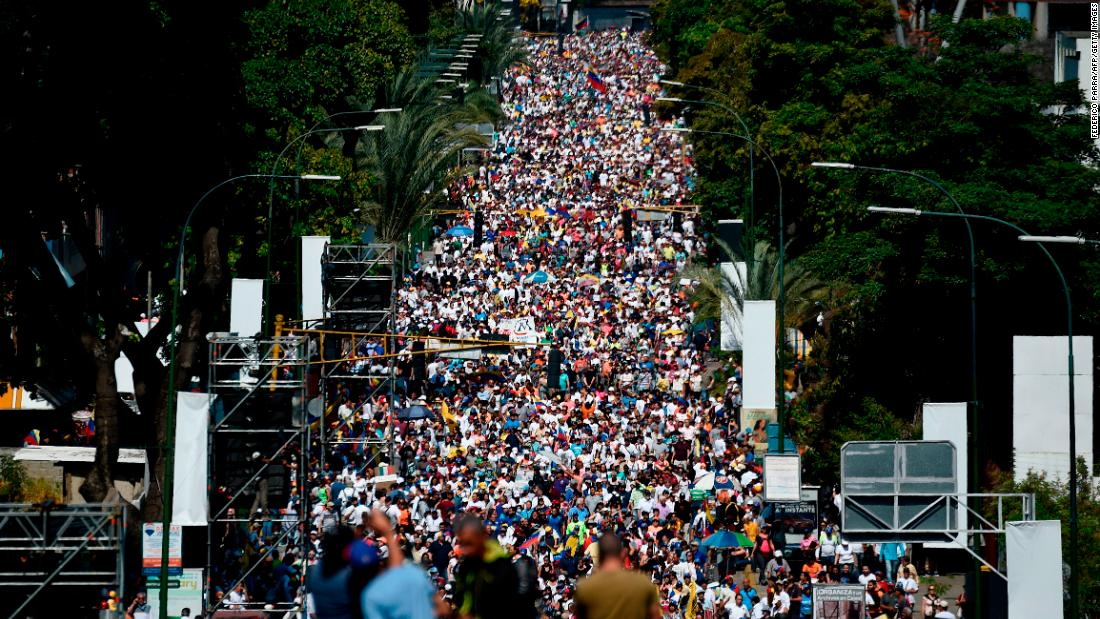 Activists pour into the streets of Caracas on Saturday, February 2, to back Guaido's call for early elections.