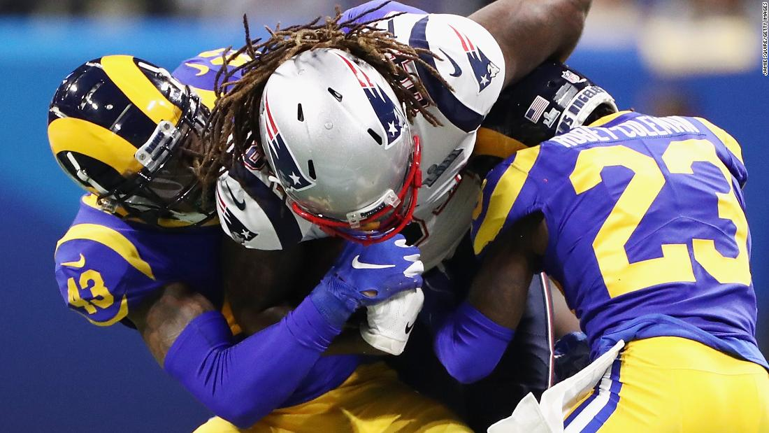 Patriots wide receiver Cordarrelle Patterson is crunched by John Johnson III, left, and Nickell Robey-Coleman in the first quarter.