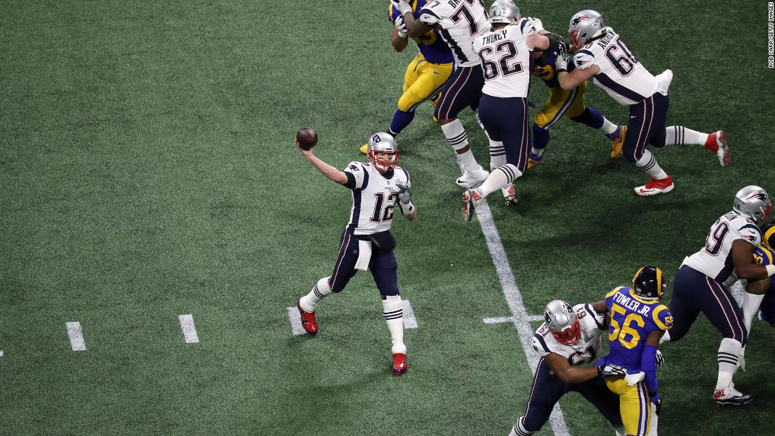 Brady drops back to the pass in the first quarter. This is his ninth Super Bowl in 18 seasons.