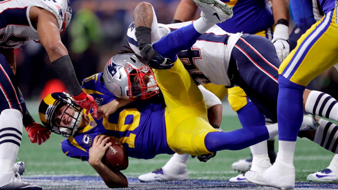 Goff is sacked by Hightower in the second quarter.