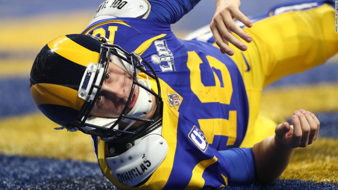 Los Angeles Rams quarterback Jared Goff looks up after throwing a pass from his own end zone in Super Bowl LIII.