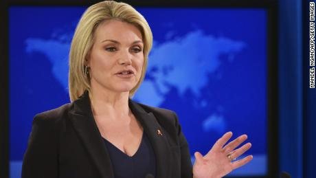 State Department Spokesperson Heather Nauert speaks during a briefing at the State Department in Washington, DC on November 30, 2017. / AFP PHOTO / Mandel Ngan        (Photo credit should read MANDEL NGAN/AFP/Getty Images)