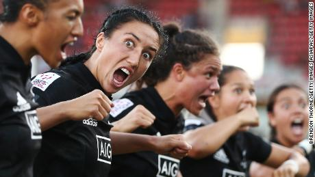 The Black Ferns perform the haka after beating Australia in New Zealand.