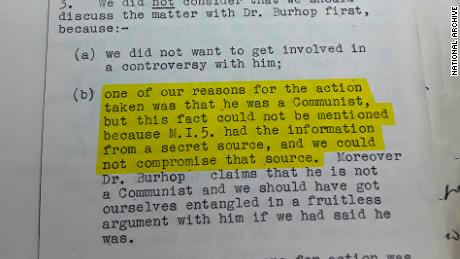 A top-secret British government file on Eric Burhop, recording information from MI5 which said he was a secret Communist. Original image altered for clarity.