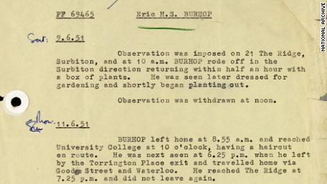 An image showing observations of Eric Burhop while he was under surveillance by MI5 and Special Branch in 1951.