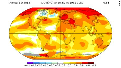 Global average temperature anomaly for 2018 from NASA. Warmer colors indicate temperatures above the 1951-80 average while cooler colors indicate below average temperatures