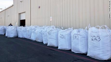 Big Sky Scientific's hemp sits after it was unloaded off of Palamarchuck's tractor-trailer.