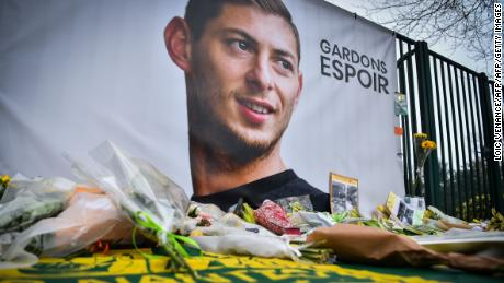 Flowers are laid outside of Nantes' training complex in memory of Emiliano Sala.