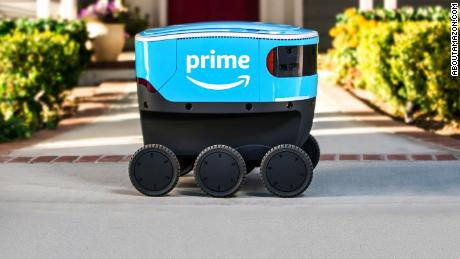 Amazon Scout is designed to deliver packages on sidewalks.