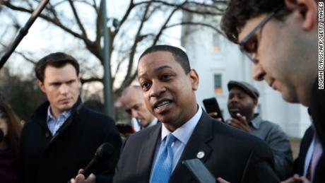 Virginia Lieutenant Governor Justin Fairfax addresses the media about a sexual assualt allegation from 2004 outside of the capital building in dowtown Richmond, February 4, 2019.