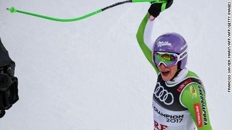 Ilka Stuhec reacts celebrates at the  Alpine Ski World Championships.