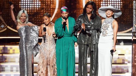 Lady Gaga, Jada Pinkett Smith, Alicia Keys, Michelle Obama, and Jennifer Lopez at the Grammys.