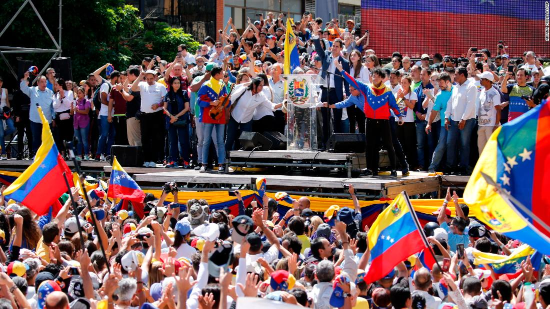 National Assembly President Juan Guaido, who has declared himself the acting president of Venezuela, addresses the crowd in Caracas on February 12.