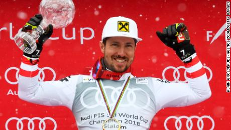 Hirscher won six World Cup slalom crowns and six giant slalom titles.