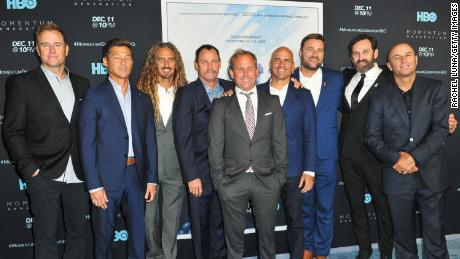 The stars of Momentum Generation pose at the film's premiere, with Steele (second from right), Slater (fourth from right) and Machado (third from left).