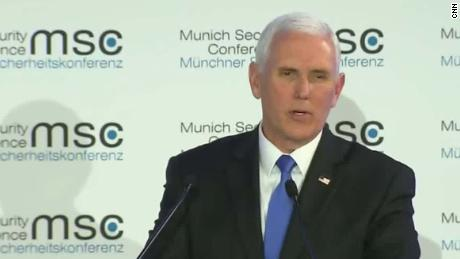 Awkward silence after Pence mentions Trump in speech