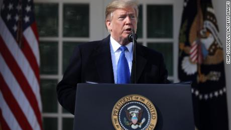U.S. President Donald Trump speaks on border security during a Rose Garden event at the White House February 15, 2019 in Washington, DC. President Trump is expected to declare a national emergency to free up federal funding to build a wall along the southern border.