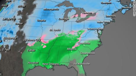 Much of the eastern United States can receive snow, sleet or freezing rain