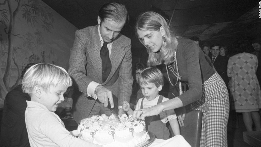 Biden cuts a cake at his 30th birthday party in November 1972, shortly after winning the Senate election. A few weeks later, Neilia Biden died in a car accident while Christmas shopping. Their baby daughter, Naomi, was also killed in the wreck. The two boys were badly injured, but they survived.