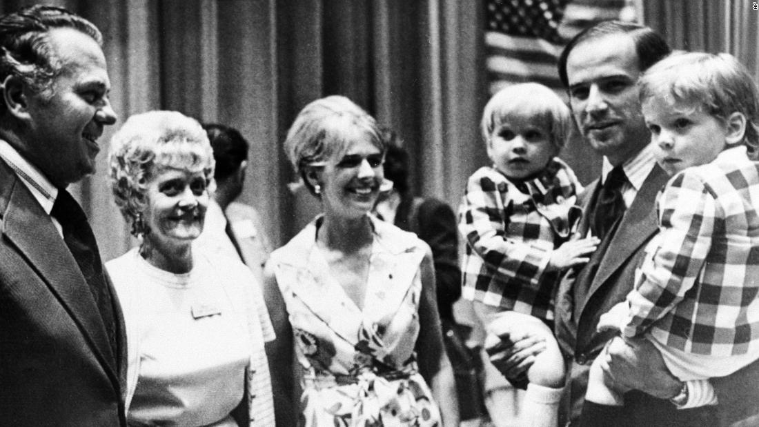 Biden carries his sons Beau, left, and Hunter while attending a Democratic convention in Delaware in 1972. At center is his first wife, Neilia, and on the left are future Gov. Sherman W. Tribbitt and his wife, Jeanne. Biden, a member of the New Castle County Council, was running for one of Delaware's US Senate seats, and he won that November at the age of 29.