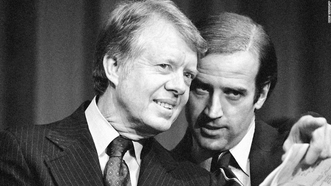 Biden speaks with US President Jimmy Carter at a fundraising event in Delaware in 1978. Later that year, Biden was re-elected to the Senate. He kept getting re-elected until he resigned in 2009 and became Barack Obama's vice president.