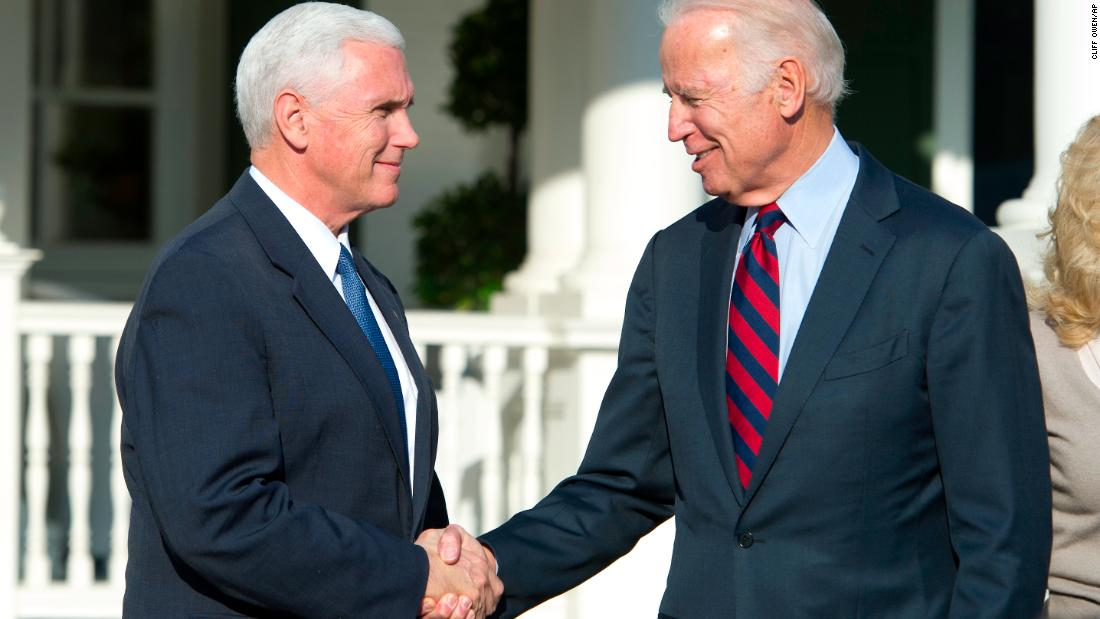 "Biden shakes hands with his successor, Mike Pence, after <a href=""http://www.cnn.com/2016/11/16/politics/joe-biden-mike-pence/"" target=""_blank"">they had lunch in Washington, DC,</a> in November 2016."