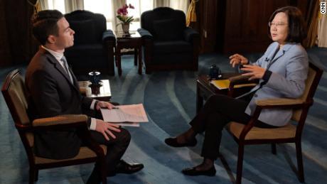 Taiwan President Tsai Ing-wen in conversation with CNN's Matt Rivers on February 18.