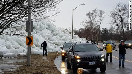Parkway hit by an ice shove
