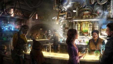 Un rendu de la cantina d'Oga au Galaxy. Ce sera le premier bar à servir de l'alcool à Disneyland en dehors du club privé 33.