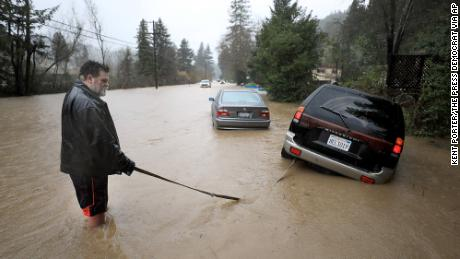 Severe flooding in Sonoma County turns town into island