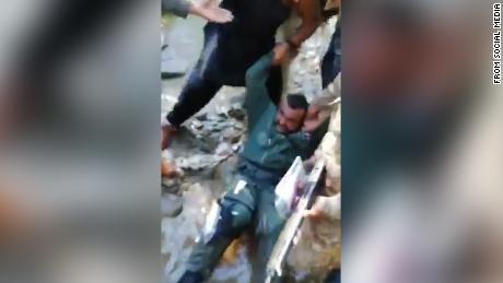 A grab from video posted by Pakistani social media accounts showing a man reported to be an Indian pilot who was captured after his plane went down in the Pakistan. This comes as both India and Pakistan confirm at least one Indian pilot went down with an aircraft during an aerial encounter between the two countries over the disputed territory of Kashmir. CNN is not able to independently verify this image.