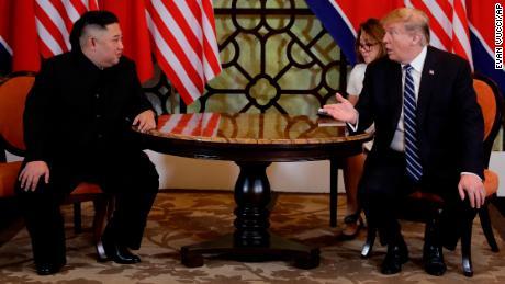 North Korean leader Kim Jong Un with US President Donald Trump in Hanoi.