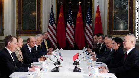 US Trade Representative Robert Lighthizer, left-front, takes part in trade talks with Chinese Vice Premier Liu He on the right front in Washington earlier in February.