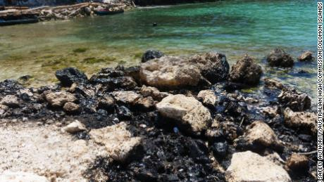 Oil from a leaking vessel in the Solomon Islands washes ashore near a UNESCO World Heritage Site.
