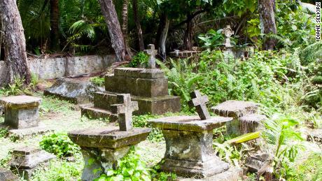 Overrun graves on the Chagos Islands in Diego Garcia.