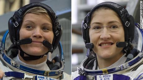 NASA astronauts Anne McClain left and Christina H. Koch were set to take part in the spacewalk March 29