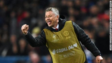 Ole Gunnar Solskjaer celebrates during the famous win over PSG.